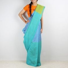 Blue & mauve color block Mangalgiri cotton saree