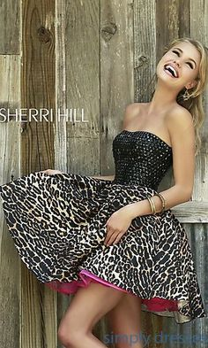 Short A-Line Leopard Print Dress by Sherri  Hill at SimplyDresses.com