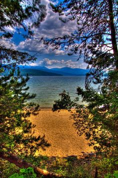 South Beach at Elkins Resort on Priest Lake, Idaho. Love this area....have stayed at this part of the lake many times.