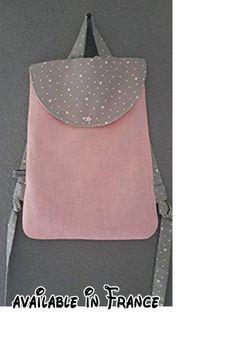 sac à dos bébé ou enfant idéal pour la maternelle,creche ou nounou en lin rose et gris étoilée.  #Guild Product #GUILD_BABY