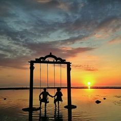 Swing at the Ombak Sunset Hotel, Indonesia