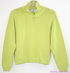 BKg and Co Sweater Cotton Long Sleeve Split Neck Knit Lime Green One Size S M L  #BkgCompanyNewYork #Collared