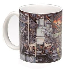 Start your day with a cup of art. The production and manufacturer of an engine and transmission are the focus of Diego Rivera's Detroit Industry, North Wall. Wraparound design. $8.95