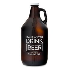 "Designed to be refillable, this amber glass growler makes a great gift for the guys. Add a custom ""Drink Beer"" message to up the cool quota. You may even want to gift one to yourself."