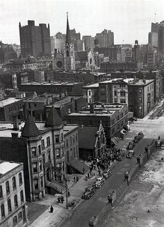 Looking east on Huron from Clark (Holy Name Cathedral in the distance), 1945, Chicago