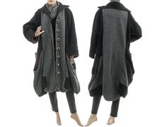 Artsy boho coat boiled wool in black grey / bulgy balloon shape / lagenlook for medium and plus sized women, US size 12-16 / Autumn Winter