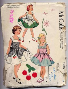Vintage 1950s Girls Pretty Contrast Dress Sewing Pattern McCall 1935 Circle Skirt Cherry Applique Size 6. $9.95, via Etsy.