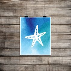 Starfish Printable, Blue Watercolor Print, Under the Sea, Nursery Decor, Playroom Printable, $5
