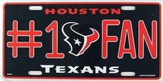 Houston Texans #1 Fan NFL License Plate Plates Tag Tags auto vehicle car front