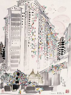 Ink and Brush Painting on paper by Wu Guanzhong.  For more info, please fan us at: www.facebook.com/ContemporaryChineseArt