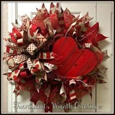 Valentine's Day deco mesh wreath with Terri Bow by Twentycoats Wreath Creations (2017) by tami