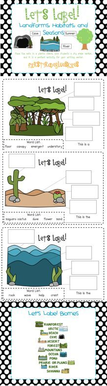 Domain 8 Animals and Habitats: First Grade Blue Skies: Label It! Landforms, Habitats, and Seasons (Freebie and Giveaway)