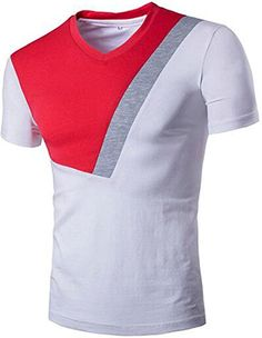 Oblique Angle Color Block V-Neck Short Sleeve Men's T-Shirt Stylish Mens Outfits, Cool Outfits, Camisa Nike, Clothing Store Displays, African Shirts For Men, Polo Shirt Design, Men's Fashion, Fashion Outfits, African Men Fashion