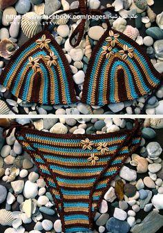 Biquini em crochê - modelo e combinação de cores