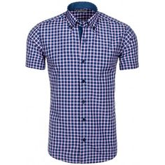 Štýlová pánska košeľa modrej farby s kockovaným vzorom - fashionday.eu Button Down Shirt, Men Casual, Fit, Mens Tops, Shirts, Fashion, Moda, Dress Shirt, Shape