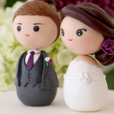 This listing is for a couple of custom Japanese kokeshi cake toppers. Base is not included. They will be all handmade in kokeshi style, meaning no arms or legs, oval bodies and simple lines. Some guidelines for personalizing are: ~ Hair color, style. Flower in hair? ~ Wedding attire