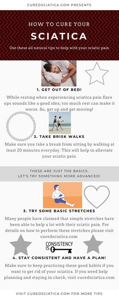 Here are some quick tips to help with your sciatic pain. Use these along with your sciatica plan. If you need a plan head over to cured. Sciatica Stretches, Sciatica Symptoms, Sciatica Pain Relief, Sciatic Pain, Migraine Relief, Sciatic Nerve, Sciatica Pain Treatment