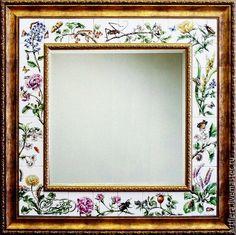 Купить Зеркало Ботанические гравюры - зеркало, Роспись плитки, роспись керамики, роспись зеркала