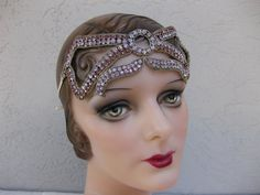 Rare and Unusual Blush Pink and Periwinkle Blue Flapper Rhinestone Headband...Headpiece....Bandeau....The Great Gatsby