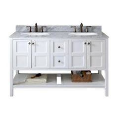 Winterfell 60 in. W x 22 in. D Vanity in White with Marble Vanity Top in White with White Basin
