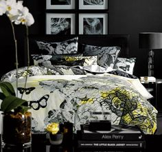 Calliope Yellow ALEX PERRY  Straight off the catwalk, this lace-inspired design combines the latest trends in home and fashion. Like a couture gown, the design is layered artfully with printed pattern and embroidered with butterflies in a now palette of black, white and lemon yellow.  Features: Cotton Percale Printed Embroidered Black on black reverse - #quiltcovers