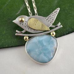 Larimar Bird Pendant - Artisan Metalsmith Pendant - Art Jewelry