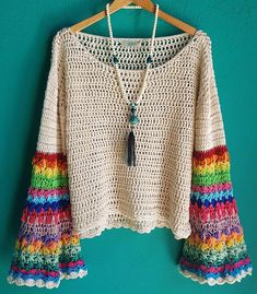 Sweater Rainbow Base crudo NEW IN #tejidosss19 #crochet #newin #tejidosartesanales #color #fashion #boho #tendencia #summer