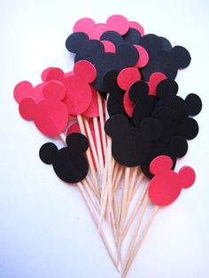 24 Mickey Mouse Party Picks  Cupcake Toppers by ThePrettyPaperShop, $3.99