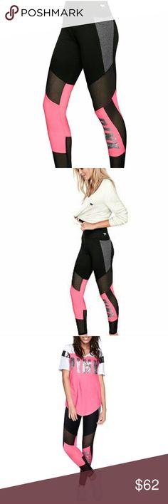 Victoria's Secret pink bling mesh leggings Brand new with tags, bling on the side leg. Flat yoga leggings PINK Victoria's Secret Pants Leggings