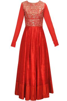 Red zardozi and chiffon embroidered anarkali set available only at Pernia's Pop-Up Shop.