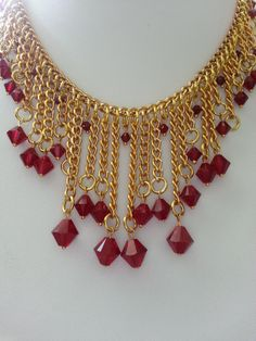 Beautiful Red Swarovski Bicone Crystals and Gold by PickinsGalore, $25.97