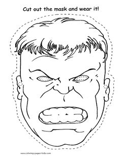 Coloring pages for kids-The Hulk mask
