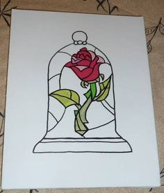 Beauty and the Beast Rose Bell Jar - would love this as a tattoo! It's my favorite Disney movie