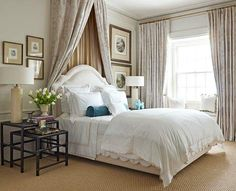 Luxury and pampering were the decorating goals for this guest room.  Tone-on-tone layers of wool damask and silk on the dramatic behind-the-bed drapery exemplify the room's easy elegance.  Interior design by Monica Pedersen.