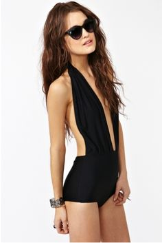 Nasty Gal one piece black bathing suit.