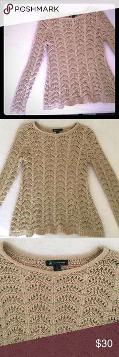 Nude INC Sweater In perfect condition practically new! Beautiful nude color with gold threading! Size medium. Very flattering on! Warm and cozy! Smoke and pet free home. INC International Concepts Sweaters Crew & Scoop Necks