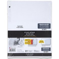 Five Star Reinforced Graph Filler Paper, Graph Ruled, Loose-leaf, 11 x... ($3.10) ❤ liked on Polyvore