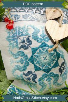 Folk cross stitch pattern. Geometric cross stitch pattern. Download this mandala cross stitch pattern and bring feeling of the folk in blue colors at your home. Counted cross stitch. Blue cross stitch.Modern folk art. Modern folk embroidery.