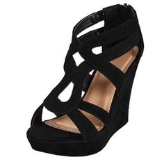 Top Moda Lindy-3 Wedges Sandals, Black Pu, 7.5