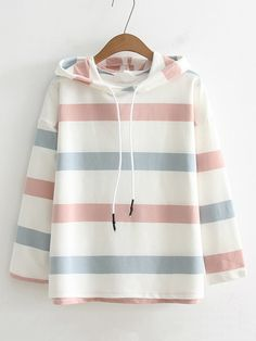 SheIn offers Block Striped Drawstring Hoodie & more to fit your fashionable needs. Girls Fashion Clothes, Teen Fashion Outfits, Girl Outfits, Kawaii Fashion, Cute Fashion, Fashion Mode, Korean Fashion, Cute Casual Outfits, Stylish Outfits