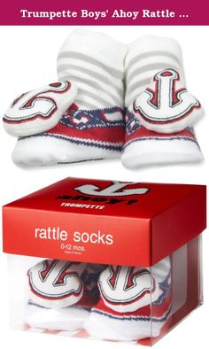 Trumpette Boys' Ahoy Rattle Socks, Red, 0-12 Months. One pair of low-top nautical shoe socks with an embroidered anchor rattle attachment in a gift box.
