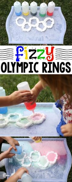 Super cool Olympic Activity: These Fizzy Olympic Rings are the perfect way to add some STEM learning into your Olympic thematic unit! Olympic Games For Kids, Olympic Idea, Olympic Flame, Kids Olympics, Summer Olympics, Office Olympics, Special Olympics, Olympic Crafts, Art Nouveau
