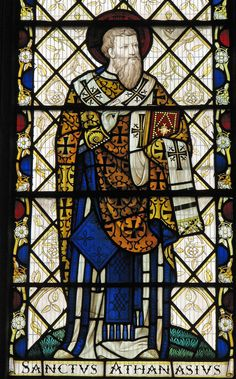 St Athanasius  From the Bishop West chantry chapel in Ely cathedral. St Athanasius was an Eastern doctor of the Church who attended the Council of Nicea in 325 where he fought for the defeat of Arianism and acceptance of the divinity of Jesus.