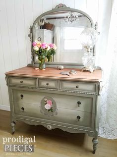 An Antique Mirrored Dresser Given New Life by Larissa of Prodigal Pieces | prodigalpieces.com #prodigalpieces #furniture