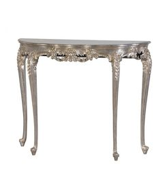 The beautifully distressed Silver Console table with marble top and matching mirror just oozes chic style! This luxury console table is hand-carved from mahogany and then finished in a mildly distressed silver leaf. Silver Console Table, Slim Console Table, Half Moon Console Table, Half Moon Table, French Console Table, Silver Table, White And Gold Bedroom Furniture, Silver Furniture, Mirror Furniture