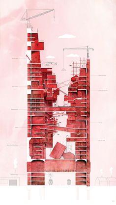 Visualizing Architecture User Gallery — Eldo Mathew Clandestine Canyon Rhino + Photoshop section Architecture Design, Architecture Panel, Architecture Graphics, Architecture Visualization, Architecture Student, Architecture Drawings, Architecture Portfolio, Concept Architecture, Rhino Architecture