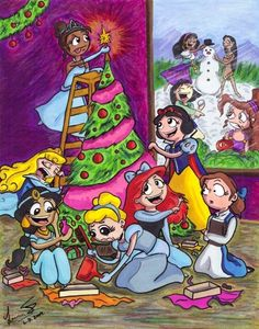 An image of the Disney Princesses and some of the other female characters from Disney films celebrating the holidays. Inside the House, We have... - Tiana (Princess and the Frog) is putting up the ...