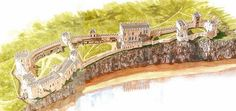 A reconstruction of Chepstow 4, Roger Bigod III completes it as his noble residence from 1270 to 1300 by John Banbury