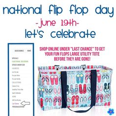 Flip Flop Day with Thirty One. Large Utility Tote www.mythirtyone.com/508632 31 Gifts, Thirty One Gifts, Large Utility Tote, 31 Bags, Lets Celebrate, Let It Be, Flip Flops, Fun, Graphics