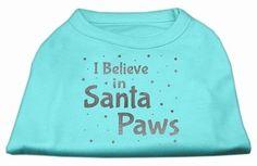 Screenprint Santa Paws Pet Shirt Aqua Lg (14)